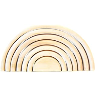 Wooden rainbow stacking toy Rainbow stacker Waldorf rainbow Wood rainbow unfinished Montessori wooden rainbow toy Sorting Stacking Rainbow building toy 12 Pcs pieces Extra Large Natural