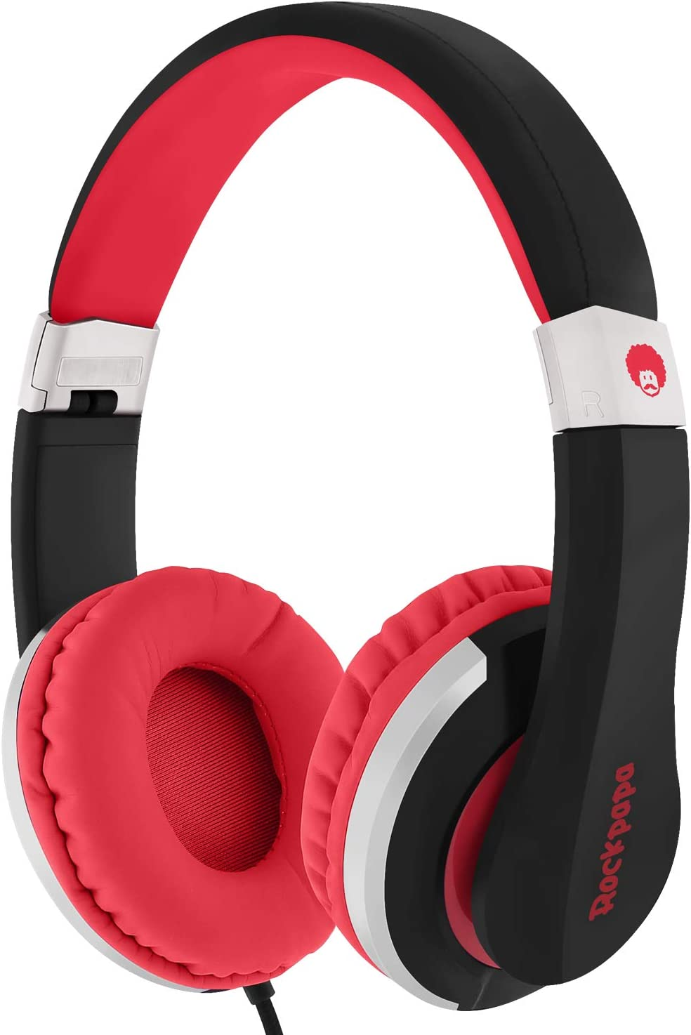 RockPapa I22 Foldable Adjustable On Ear Headphones with Microphone for Kids/Adults iPhone iPad iPod Tablets MP3/4 DVD Computer Black/Red