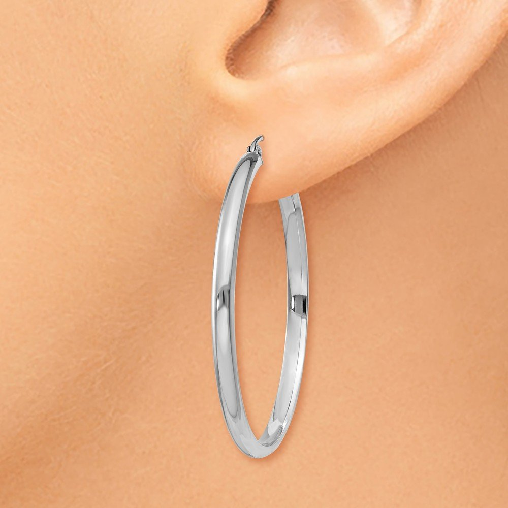 14kt White Gold Polished Hoop Earring