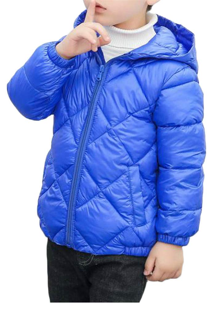 Pandapang Boys Zip Thin Lightweight Solid Hoodid Down Quilted Jacket Parka Coat Jewelry Blue 3T
