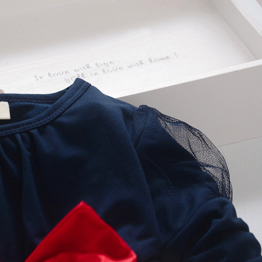 PinkLu Vestido De Falda De Ni/ñA De Manga Larga con Lazo Lindo para Ni/ñOs Vestido De Princesa De Punto De Manga Larga con Lunares Bowknot para Ni/ñA Peque/ñA Y Pantalones De Conejo