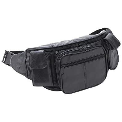 7cb6c4faa3f1 Amazon.com  Large Black Leather Fanny Pack Mens Waist Belt Bag Womens Purse  Hip Pouch Travel  Shoes
