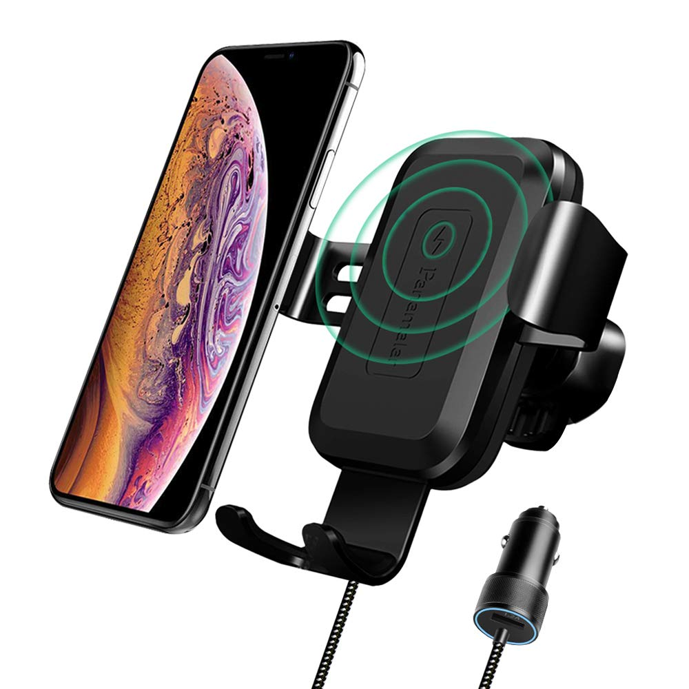 Panamalar Wireless Car Charger Mount, 7.5W Compatible with iPhone Xs/XS Max/XR/X/8/8 Plus, 10W for Samsung and Other QI Enabled Devices
