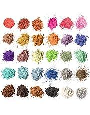 Mica-poeder 30 kleuren (5 g / 0,18 oz, totaal 150 g / 5,3 oz), MENNYO natuurlijke pigmenten Glitter epoxyharsverf voor zeep maken, badbom, kaars, cosmetische oogschaduw, make-up, nagellak, slijm, verf