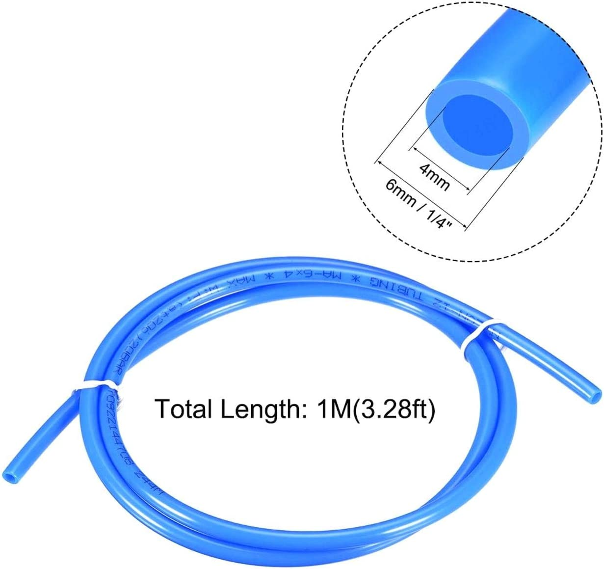 TINGB Tubo Pneumatico in Poliuretano PU Tubo Flessibile per Sistema frenante ad Aria o trasferimento Fluido 1M Blacl 4mm OD x 2,5mm ID