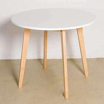 Esstisch Weiss Rund O 90 X 75 Cm Holzbeine Esszimmertisch Tisch Retro