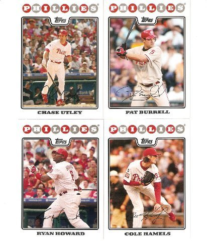 2008 Topps Philadelphia Phillies Complete Team Set ( 22 Baseball Cards from both Series 1 & 2) Includes Chase Utley, Jimmy Rollins, Ryan Howard and more !