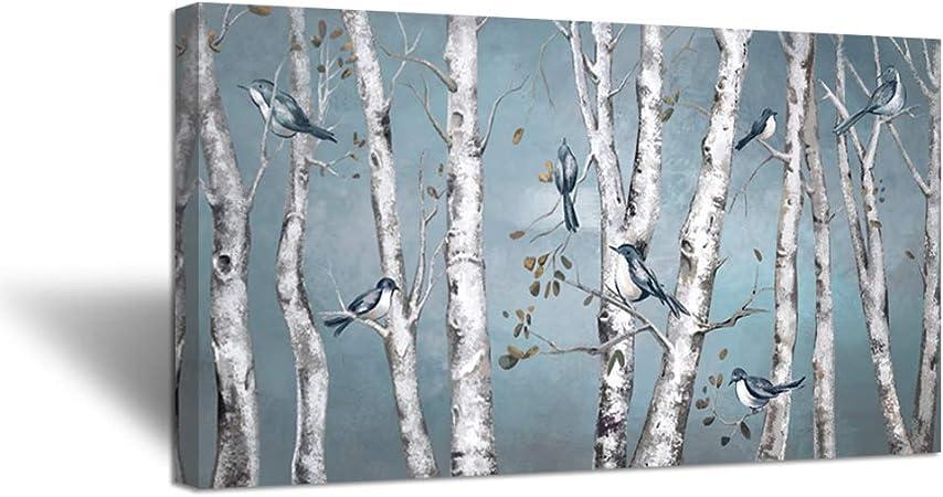 Set of 3 Prints Contemporary Woodland Decor Blue Brown Turquoise Home Decor Tree Wall Art Winter Trees Wall Art Tree Art Prints
