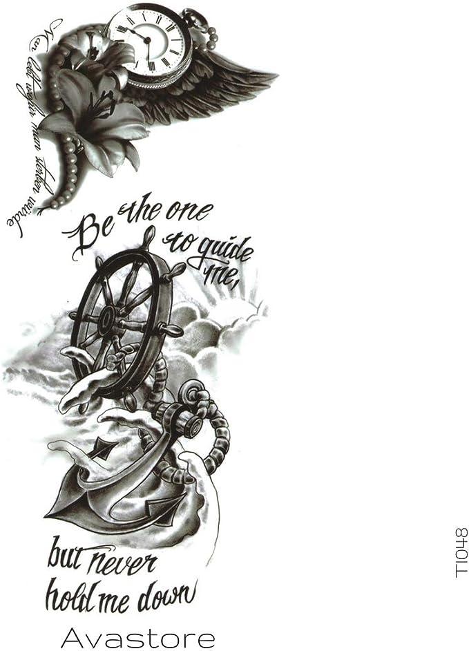 Tatuaje Temporal Marino Ancla Brújula Barra tatuaje efímero Marino ...
