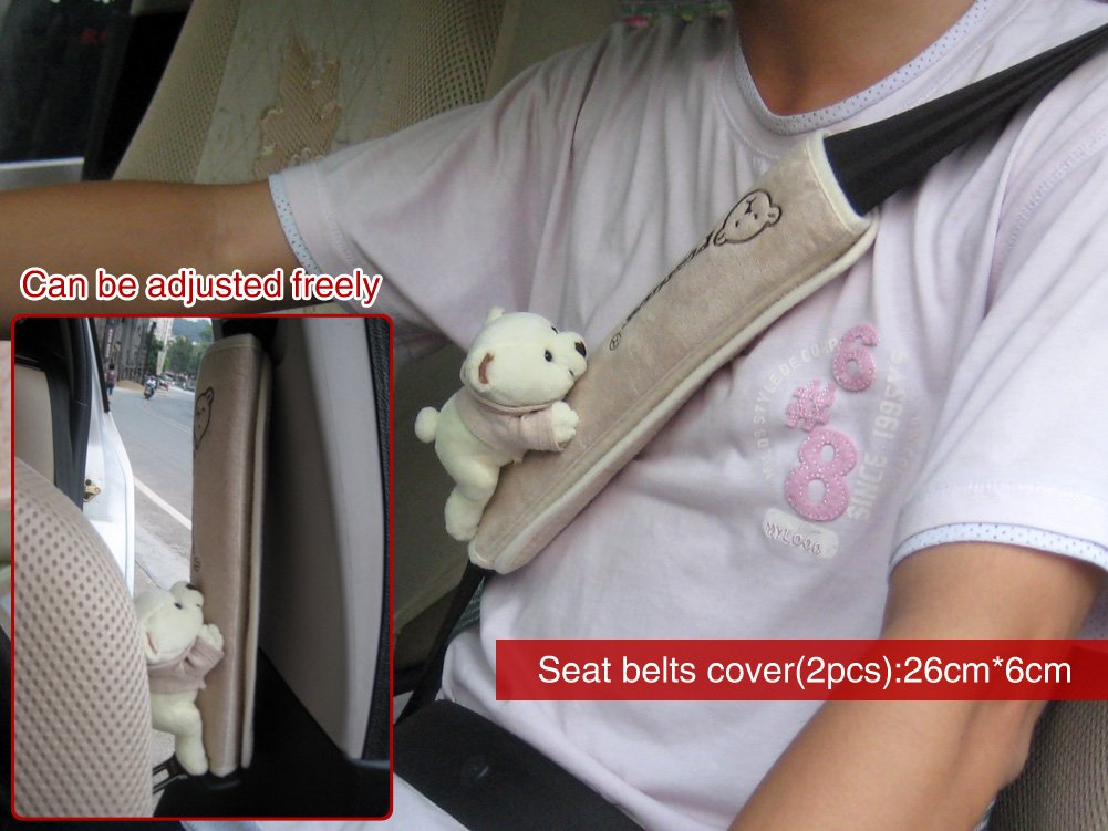 Shoulder Strap Pad Color Gray Tianmei 2Pcs Bear Doll Styling Faux Suede Car Seat Belt Strap Cover