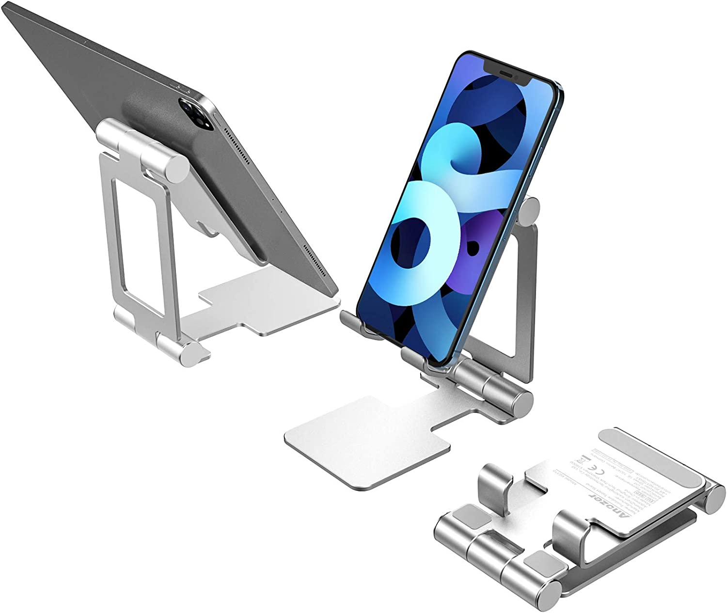 Anozer Cell Phone Stand, Fully Foldable, [2020 Updated] Angle Adjustable & Portable Aluminium Desktop Phone Tablet Stand Holder Cradle Dock Compatible with iPhone 12/12 Pro/iPad/Galaxy Tablet/Kindle