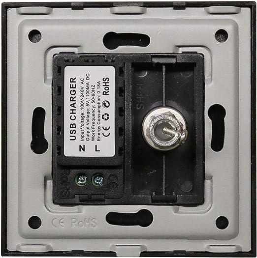 BSEED Enchufe de pared TV+USB,1/2 Toma de Antena Coaxial de ...