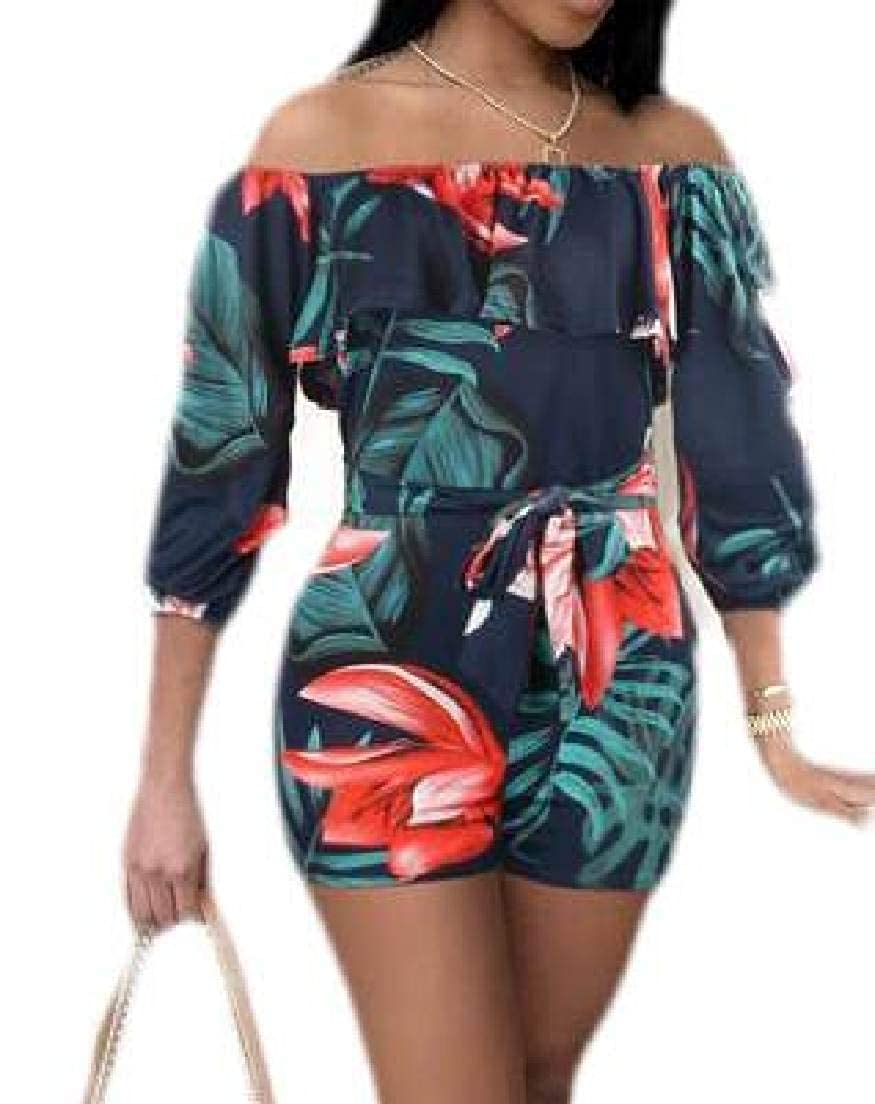UUYUK Women 1//2 Sleeve Off The Shoulder Ruffle Print Bodycon Rompers Jumpsuit