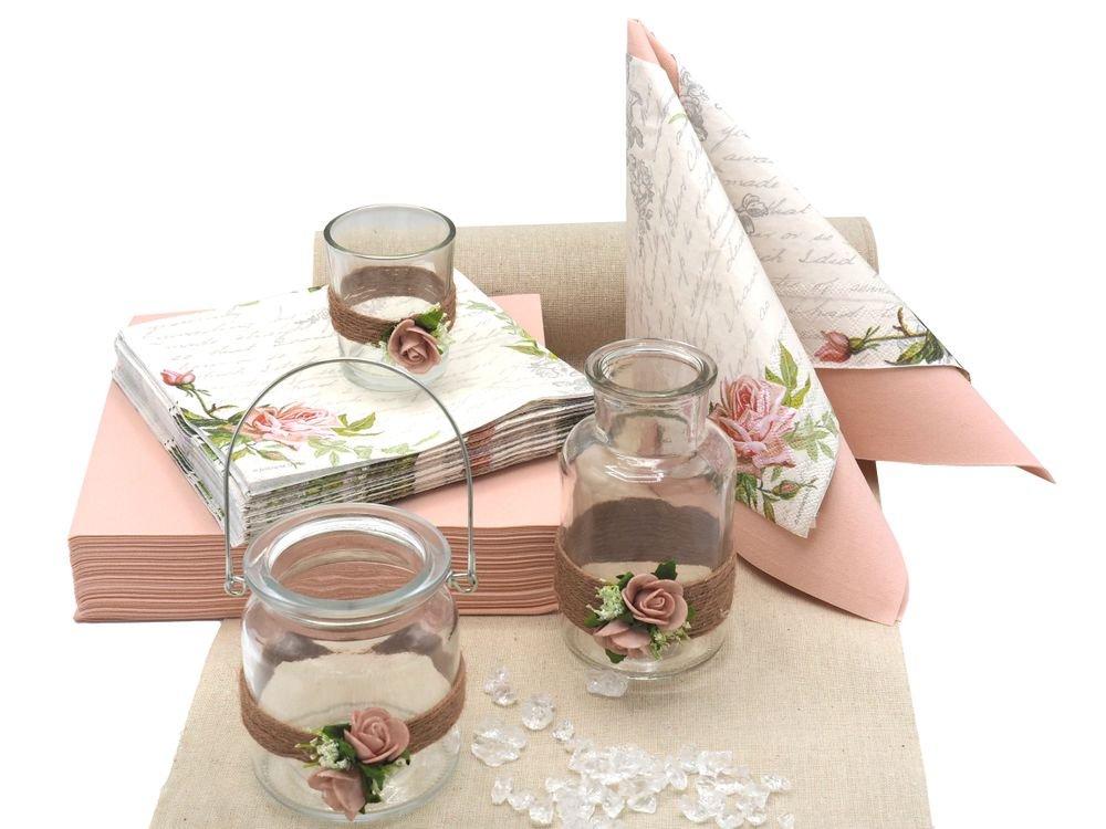 ZauberDeko Tischdeko Hochzeit Vintage Rosa Mellow Rose Deko Set Hochzeitstisch Servietten Tischläufer Kerzenglas Vase