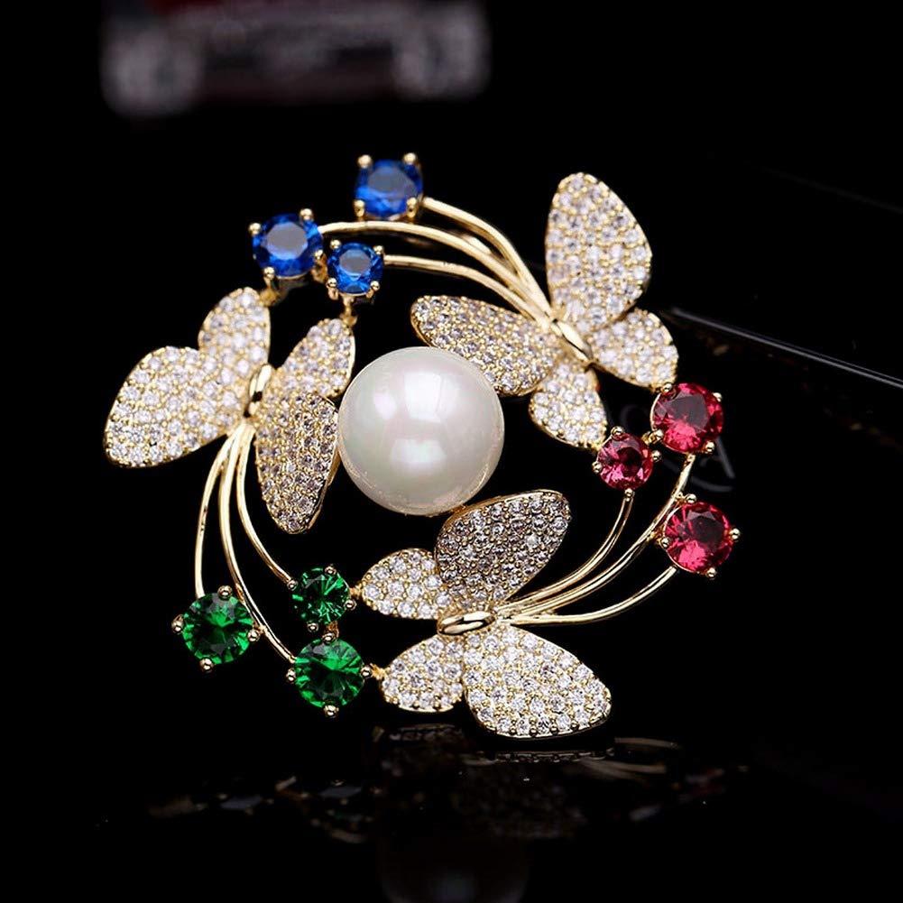 SKZKK Broches y alfileres de Coronas de Lujo para Las Mujeres Accesorios de Las Mujeres para Las Mujeres Perlas de circ/ón Mariposa Diamante de la galjanoplastia