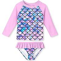 Vicbovo Clearance Baby Girls Long Sleeve Rash Guard One Piece Swimsuit Cute Polka Dot Striped Swimwear Bathing Suit