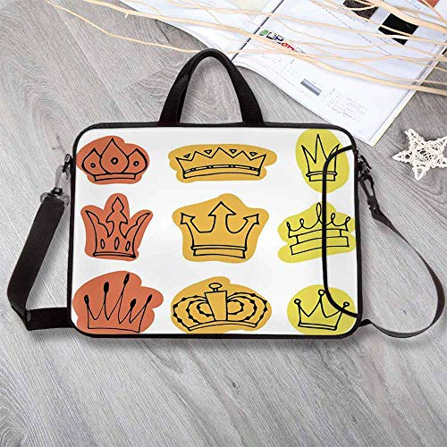 (King Portable Neoprene Laptop Bag,Sketchy Watercolor Seemed Print Tiaras Crowns Coronet Majestic Symbols Decorative Laptop Bag for Travel Office School,13.8