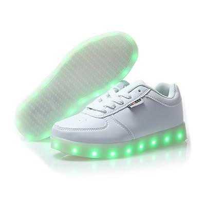 DoGeek Zapatos Led Negras Blanco 7 Color USB Carga LED Zapatillas Luces Luminosos Zapatillas Led Deportivos