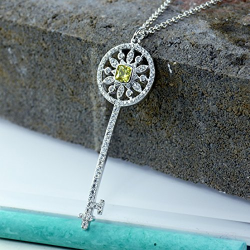 Cushion Diamond Necklace (Sunflower Key Pendant Necklace, Yellow Cushion Cut Simulated Diamond, AAA Cubic Zirconia, Platinum Over Sterling Silver)