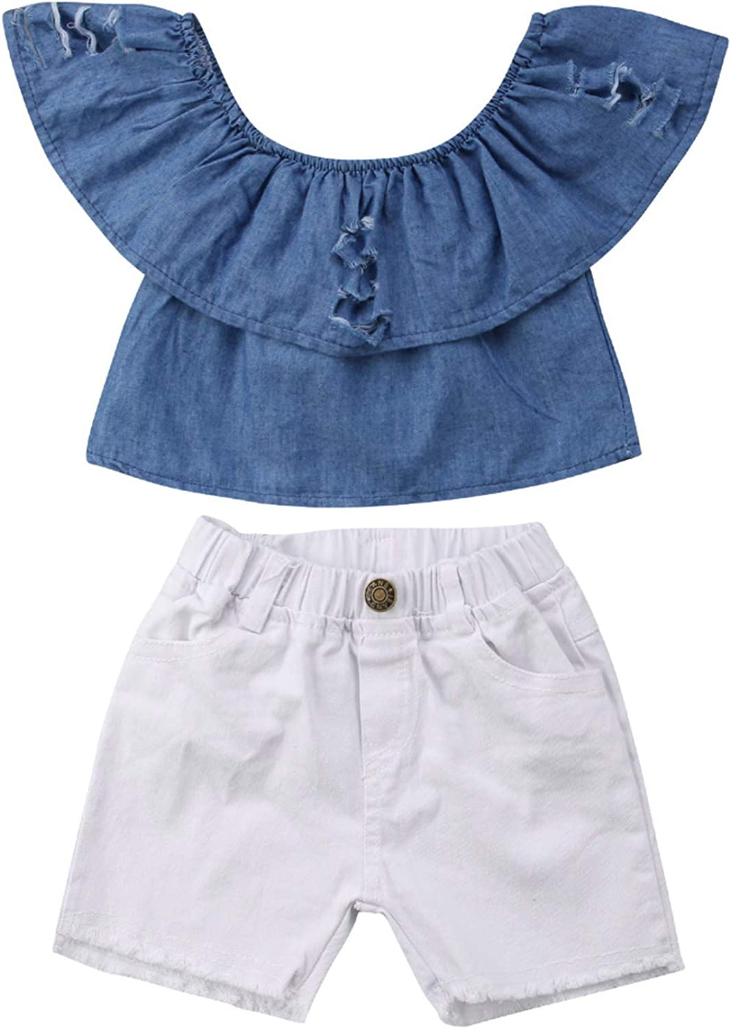 Short Toddler Summer Clothes Baby Girls Off Shoulder Ruffle Denim Tops Sleeveless Lotus Leaf Collar Crop Tops