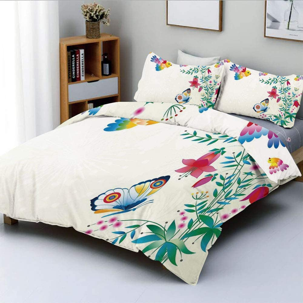 Amazon Com Sinoval Artistic Bellflower With Birds Butterflies Blooms Colorful Summertime College Dorm Room Decor Decorative Custom Design 3 Pc Duvet Cover Set Twin Twin Extra Long Home Kitchen
