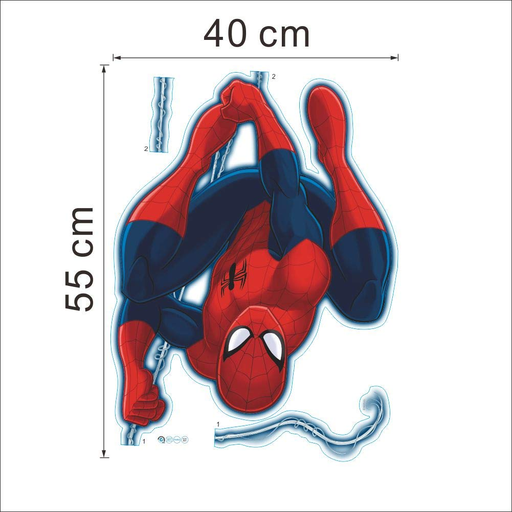 Kibi 2PCS Stickers Muraux Spiderman 3D Effect Autocollants Chambre Decor D/écoration Sticker Adhesif Mural G/éant R/épositionnable Stickers Muraux Enfants Spiderman