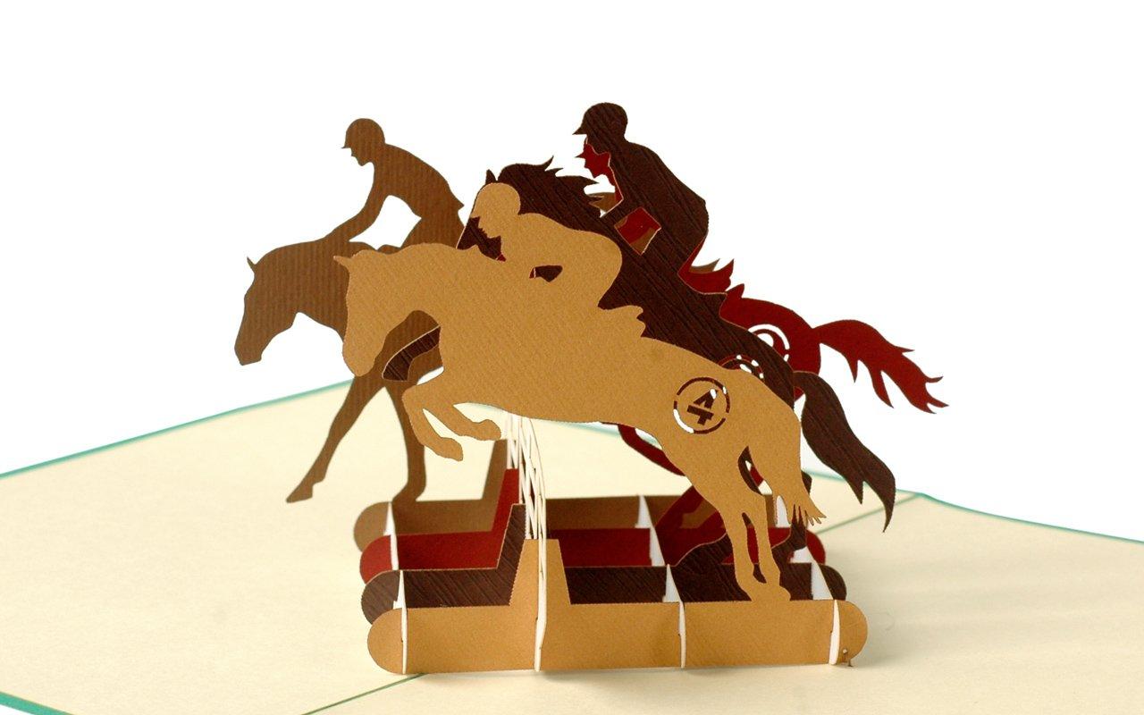 biglietto di auguri scheda con cavalli Dressage Pop-Up salto iter F18 equitazione