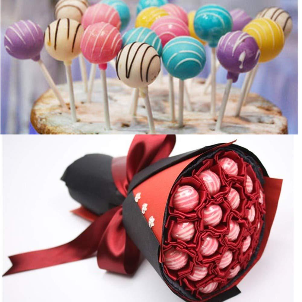 Moldes para bizcoletas Erlsig Molde de Silicona para Cake Pop silicona bandeja Stick mould rosa 20 moldes Redondo+ 120 sticks