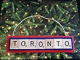 Toronto Blue Jays Baseball Christmas Ornament Scrabble Tiles Handmade