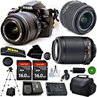 D3200 24.2 MP CMOS Digital SLR, NIKKOR 18-55mm f/3.5-5.6 Auto Focus-S DX VR, 55-200mm f4-5.6G VR Nikkor, 2pcs 16GB BaseDeals Memory, Camera Case