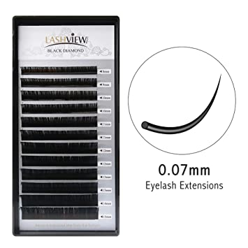 c724880e85d Amazon.com : LASHVIEW 0.07 Thickness D Curl Mixed Tray Volume Mink Eyelash  Extensions Silk Individual Lash Extensions Semi-permanent Pure Korean Silk  lashes ...