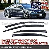 EpandaHouse For 07-11 Toyota Camry 4Pc ABS Window Visor Wind Rain Sun Block Guard Deflector Dark Tinted JDM USA