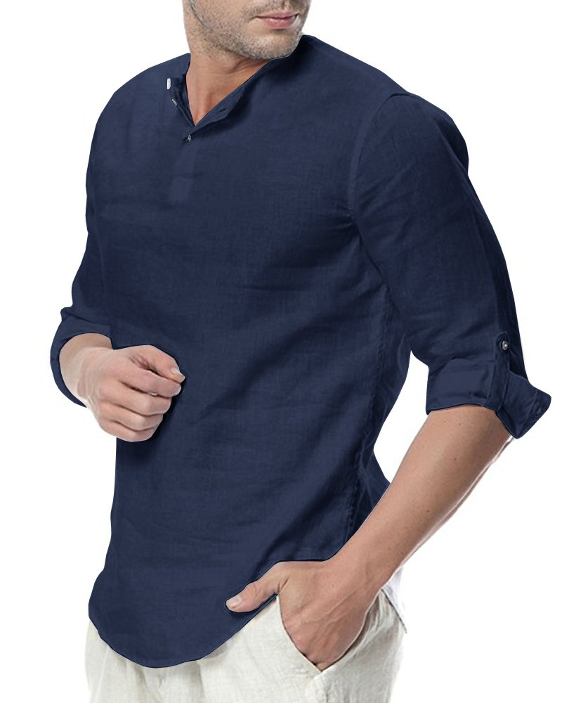 Sibylla Men's Casual 3/4 Sleeve Linen Henley T-Shirt High Low Solid Beach Yoga Top (Navy, X-Large) by Sibylla