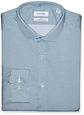 Calvin Klein Men's Non Iron Slim Fit Lattice Print Spread Collar Dress Shirt