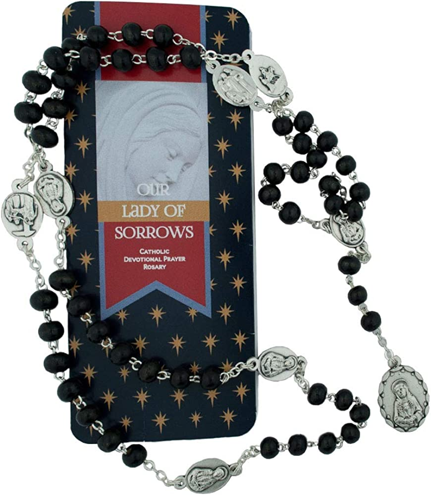 Devotional Prayer Beads Rosary of The Seven Sorrows Prayer Card Made in Italy VILLAGE GIFT IMPORTERS Our Lady of Sorrows Catholic Devotional Prayer Rosary