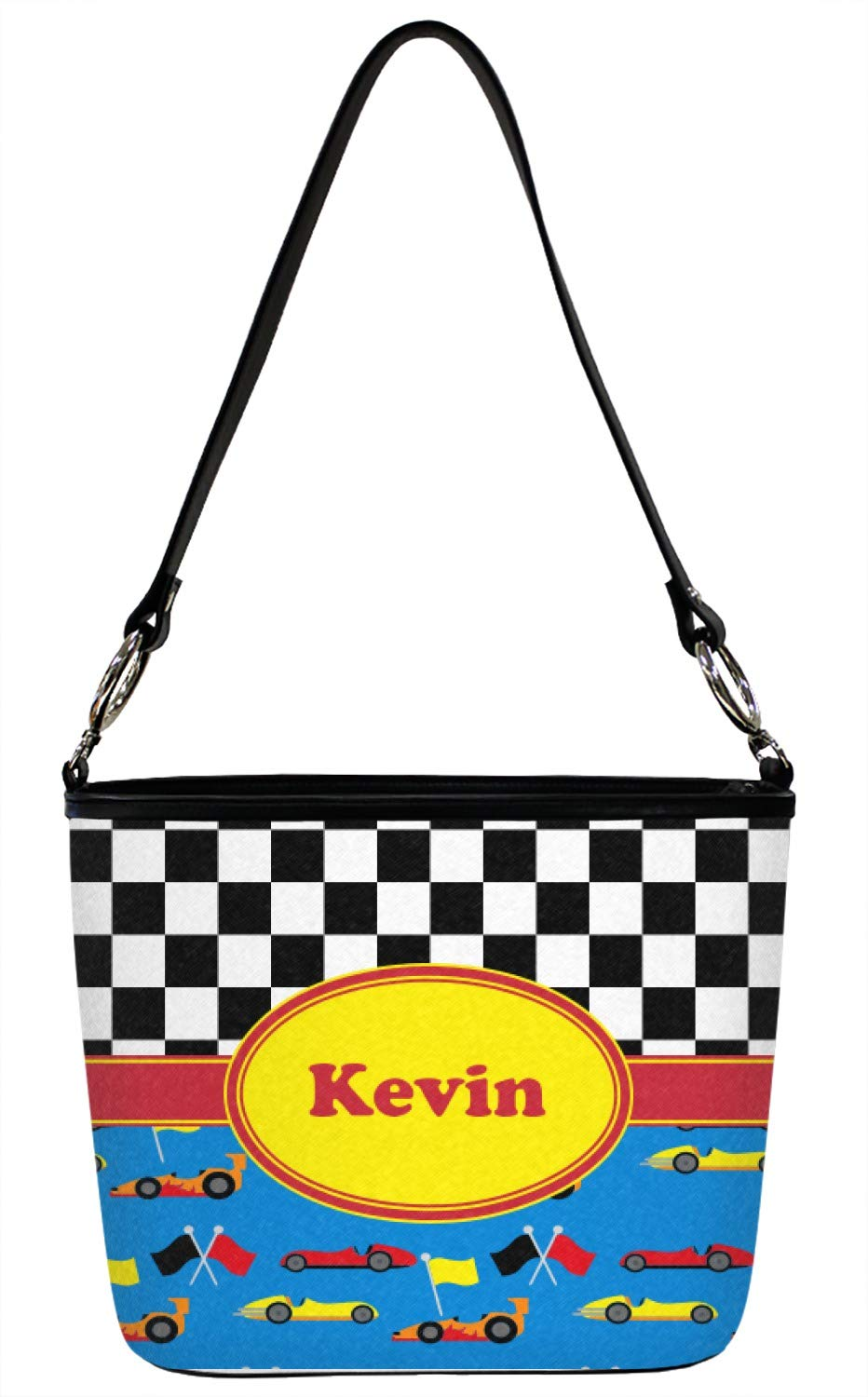 Racing Car Bucket Bag w/Genuine Leather Trim - Regular - Front & Back (Personalized)