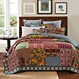 DaDa Bedding Collection Reversible Bohemian Real Patchwork 100% Cotton Dark Elegance 3-Piece Floral Quilt Cover Set, King