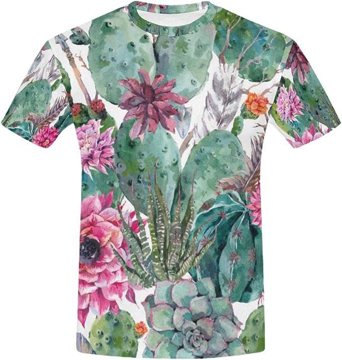 InterestPrint Mens Shirt Floral Vintage Short Sleeve T-Shirt for Men