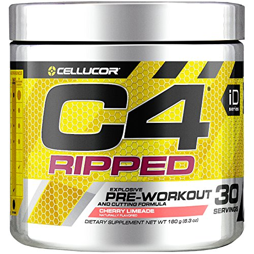 Cellucor C4 Ripped Pre Workout Powder, Cherry Limeade, 30 Servings - Preworkout Powder for Men & Women with Green Coffee Bean Extract & L Carnitine (Super Shred Cone)