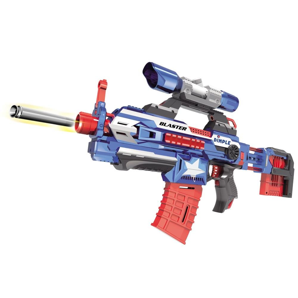"""Foam Dart """"Attack Blaster"""" with Rapid Refill Cartridges by Dimple, Includes  40 Aerodynamic Soft Foam Darts, 2 Magazine Clips, Clip-on Scope &"""