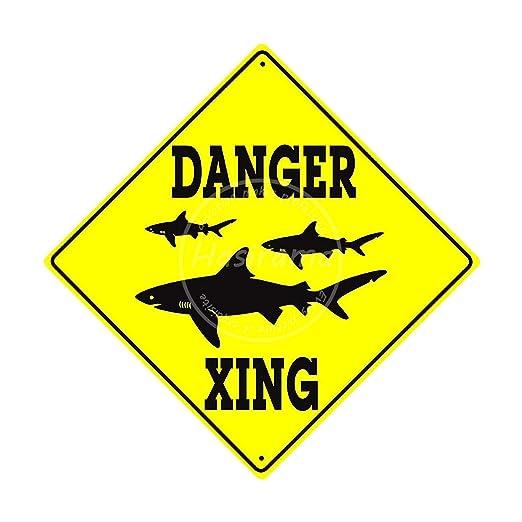 aoeiu Danger Shark Xing Cartel de Metal Decoración de la ...