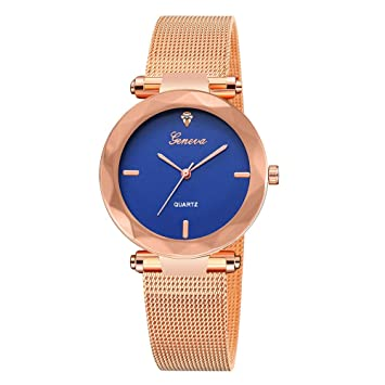 Relojes para Mujer,Winkey Lujo Mujer Clásico Ginebra Acero Inoxidable Analógico Reloj de Pulsera azul oscuro: Amazon.es: Hogar
