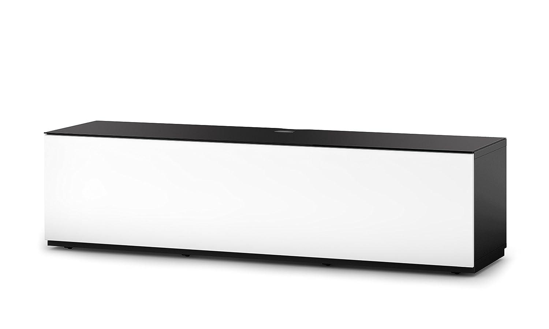 Sonorous STA 160F-BLK-WHT-BS stehende TV-Lowboard mit versteckten Rollen, schwarzer Korpus, obere Fläche, gehärtetem Schwarzglas und Klapptür mit gehärtetem Weißglas