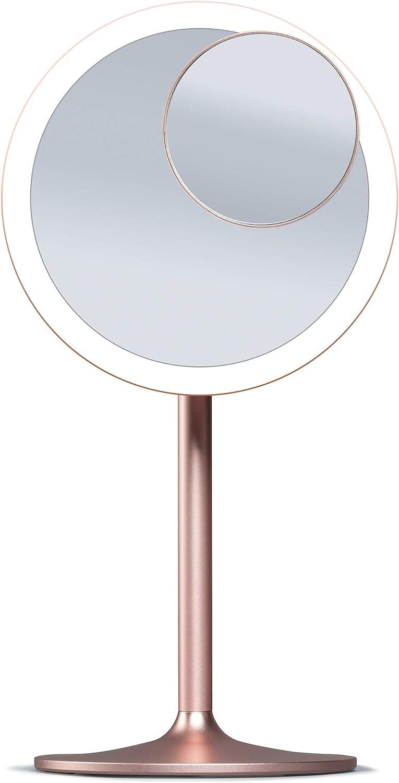 Fancii Espejo Maquillaje Recargable con Luz LED, 1x y 10x Espejo de Aumento Magnético - 3 Modos Iluminación, Luz Regulable Táctil, Espejo de Mesa Iluminado para Cosmética (Nala): Amazon.es: Hogar
