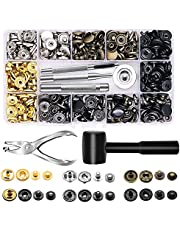 120 Set Leather Snap Fasteners Kit with Hammer Puncher, 12.5mm Metal Button Snaps Press Studs with 4 Setter Tools for Clothes, Jackets, Jeans Wears, Bracelets, Bags (Professional)