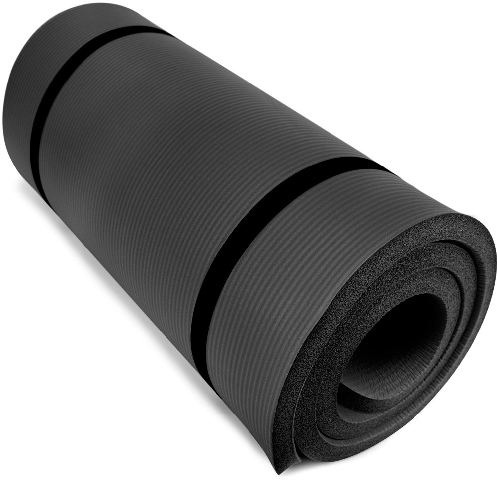 Crown Sporting Goods Yoga Cloud Ultra-Thick 1″ Yoga and Exercise Mat with Shoulder Sling