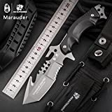 HX outdoors fixed blade tactical knives with sheath,Tanto Blade outdoor survival knife,Special forces tactical knife,Ergonomics G10 anti-skidding Handle (Marauder)