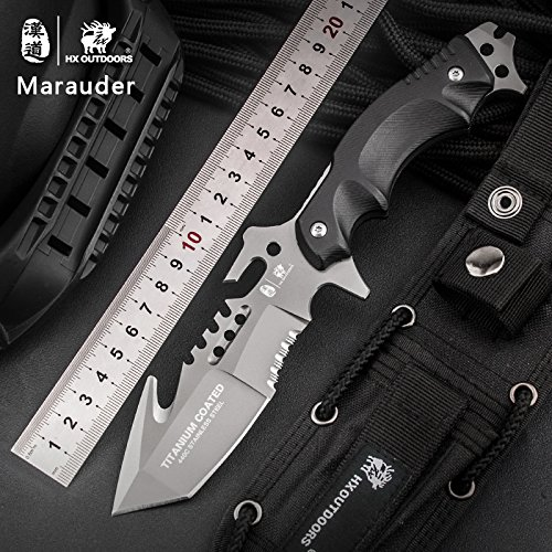 HX outdoors Fixed Blade Knives with Sheath Made of 440C Stainless Steel and Ergonomic G10 Anti-Skid Handle (Marauder)