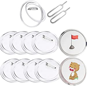 18 Pack Button Badges 2.55inch Large Acrylic Custom Buttons Clear Button Pin Maker for Craft Supplies, DIY, Small Picture Frames, Children Crafts, Removal Tool Eject Pin Included