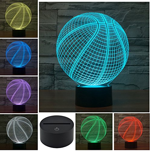 LED Night Light 3D Illusion Bedside Table Lamp 7 Colors Changing Sleeping Lighting with Smart Touch Button Cute Gift Warming Present Creative Decoration Ideal Art and Crafts (Basketball)